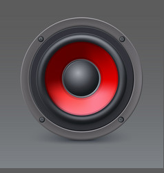 Loud speaker with red diffuser isolated on gray vector