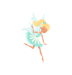Lovely fairy in flying action imaginary fairytale vector