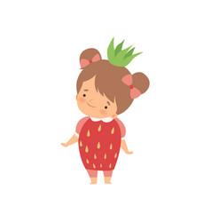 Lovely little girl wearing strawberry costume vector