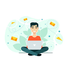 Man laptop chat workflow process social vector