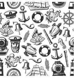 Marine nautical seamless pattern background vector