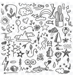 nature and environment doodle art black and white vector image