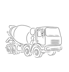 Outline of concrete mixer truck vector