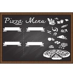 Pizza menu on chalkboard vector image