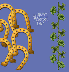 poster saint patricks day with golden horseshoes vector image