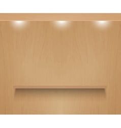Realistic shelf on wooden wall vector image