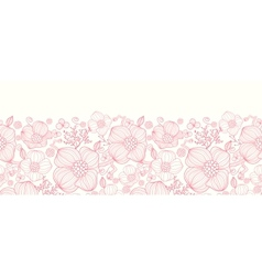 Red line art flowers horizontal seamless pattern vector