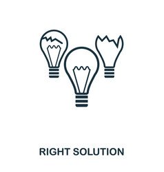 right solution icon line style icon design ui vector image