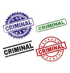 Scratched textured criminal stamp seals vector