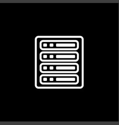 Server line icon on black background black flat vector