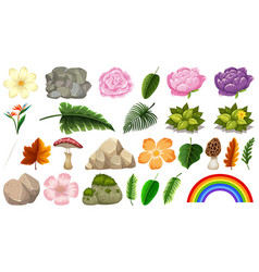 set nature object for decoration vector image