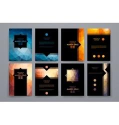 Set of brochures in poligonal style on Mardi Gras vector