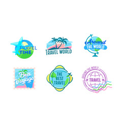 set travel emblems with airplanes earth globe vector image