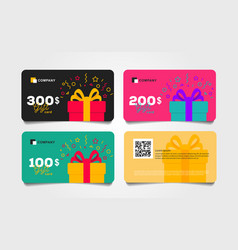 Shopping gift cards template set with gift box and vector