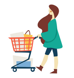 shopping woman with supermarket cart or trolley vector image