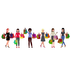 shopping women set vector image