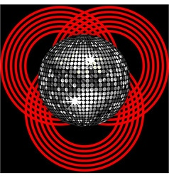 Silver disco ball on circle pattern over black vector image