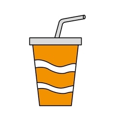 soda drink glass with straw vector image