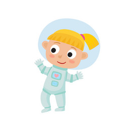 Standing astronaut kid isolated on white vector