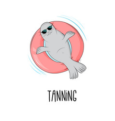tanning seal cartoon cute vector image