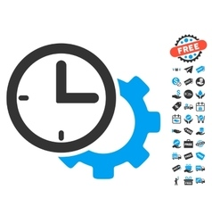 Time Setup Gear Icon With Free Bonus vector
