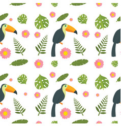 toucan parrot bird seamless pattern flat style vector image