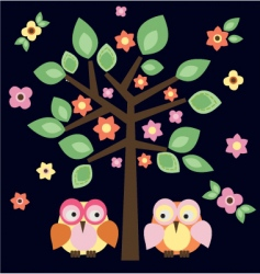 Tree owls in love vector