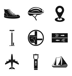 Trek icons set simple style vector
