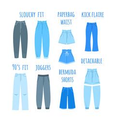 Trendy models women jeans types flat vector