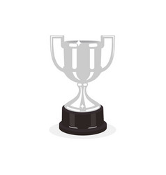 Trophy silver cup flat design on a white vector