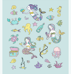 Under the sea - little mermaid vector