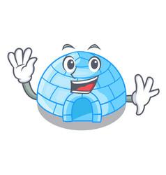 Waving cartoon dome igloo ice house snow vector