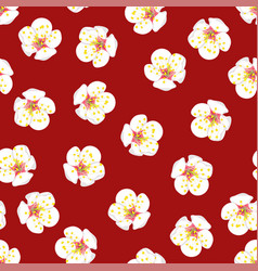 white plum blossom flower seamless on red vector image