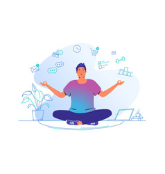 working and meditating at home cute man sitting vector image