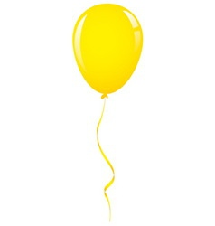 Yellow balloon ribbon vector