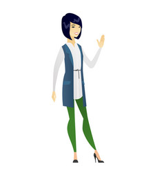 Young asian business woman waving her hand vector