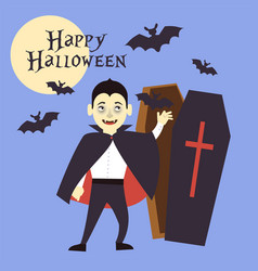 a boy dressed as a vampire reaches out to the tomb vector image vector image