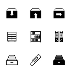 black archive icons set vector image vector image