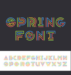 bright color line geometrical latin font vector image vector image