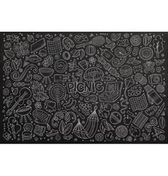 chalkboard doodle cartoon set of picnic vector image