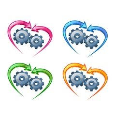 Gears and arrows vector image vector image