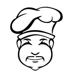 Japanese cook outline monochrome portrait vector image