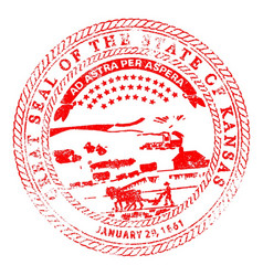 kansas seal rubber stamp vector image