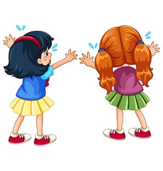 Back of two crying girls vector image vector image