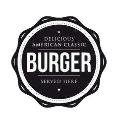 Burger vintage stamp logo vector image