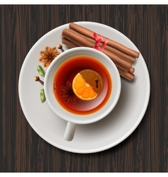 Christmas tea with spices aromatic mulled wine vector