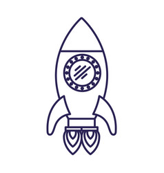 purple line contour of space rocket with two vector image vector image