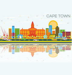 cape town skyline with color buildings blue sky vector image