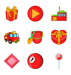 firefighting icons set cartoon style vector image vector image