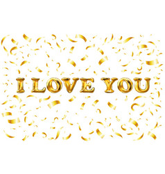 golden i love you sign background balloon gold vector image